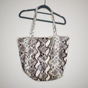 Saks Fifth Avenue Cloth Tote Bag Snake Print